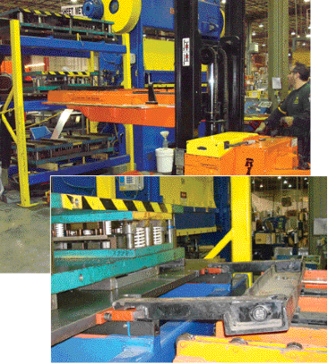 This 11,000 lb. capacity die cart serves three straightside presses