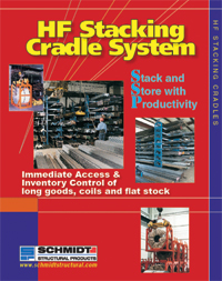 Stacking cradle stores long goods, coils