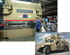Press Brake Double Production of Humvee up-armor Kits