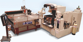 Automated machine integrates wire EDM with waterjet cutting