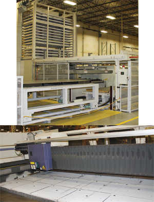 Mitsubishi laser-cutting machine includes a 20-shelf material-storage tower