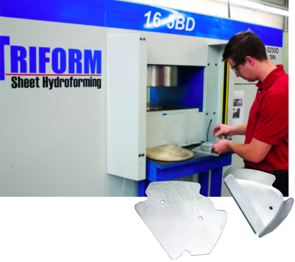 Triform sheet-hydroforming press