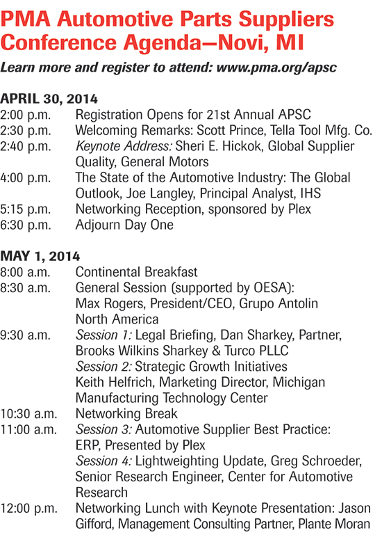 Automotive Parts Suppliers Conference Agenda