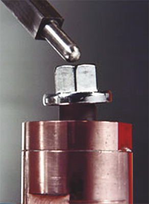 dophin nose shape of this nut guide pin keeps the weld nut centrally located on the guide pin