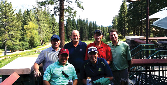 Board members enjoy a round of golf in Lake Tahoe. Back row (l to r): David Klotz, Ron Lowry, Jody Fledderman, Chip Michaelsen. Front row (l to r): P.J. Thompson, Scott Prince.