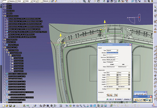 Using AutoForm-ProcessDesignerforCatia for trim-plan definition, trim segmentation automatically accounts for overcut.
