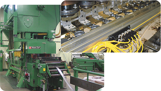 This 800-ton Minster press at Pax Machine Works, outfitted in 2008 with a Wayne Trail through-the-window servo-transfer system, runs coil-fed transfer jobs more than 80 percent of the time over two shifts of production. Changeover from transfer to progressive mode, using quick-change transfer-tooling bars, takes just a few minutes