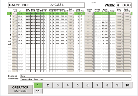 The Dayton Parts system uses recipes, selectable using the touchscreens, to streamline production changeovers and ensure repeatability of the leaf-spring manufacturing process.
