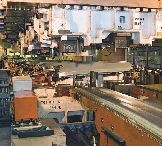 Mustang fender exiits a 2000-ton press at Ford-Flat Rock
