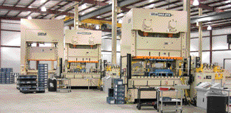 Pressroom featuring three new coil-fed mechanical presses