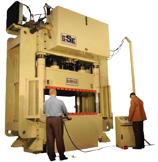 Checking out a 1000-ton hydraulic press after install at Taylor Press Products.