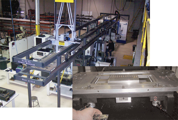 The automate die-detail manufacturing, RCM's Quinn and his team developed this gantry-style robotic system