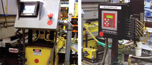 Roller-application systems (left) and programmable fluid controllers (right)