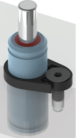 Clamp Facilitates in-press removal of gas spring