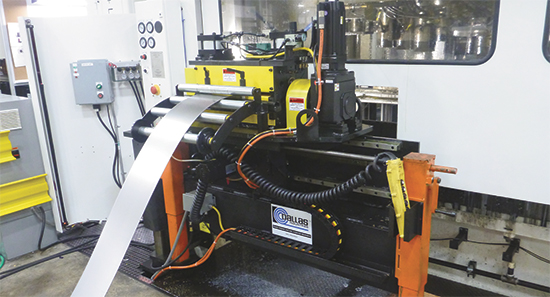 Initiating transfer-press operations at this new 600-ton servo press is a zig-zag servo feeder.