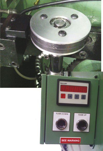 rotary magnetic encoder can be added to the press-ram adjustment mechanism