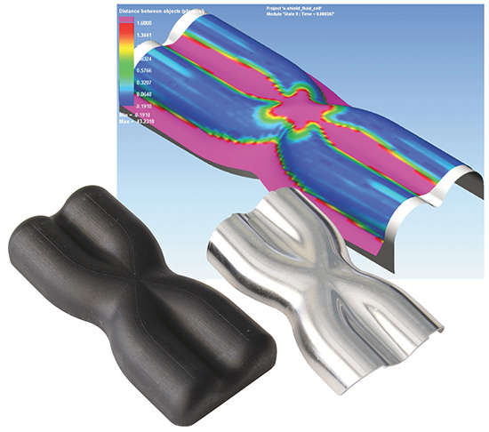 Shown is a Pam-Stamp forming simulation of an aluminum exhaust part, and the resulting tool and sheet-hydroformed part.