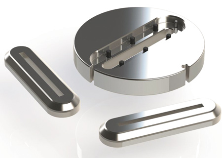 Thick turret insert slitting die reduces material cost and waste