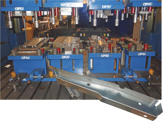 A four-station line-die setup on the 1000-ton press stamps truck-frame cross members, one of several previously outsourced jobs that Mercury Products has brought back inhouse following its new (used) press acquisition.