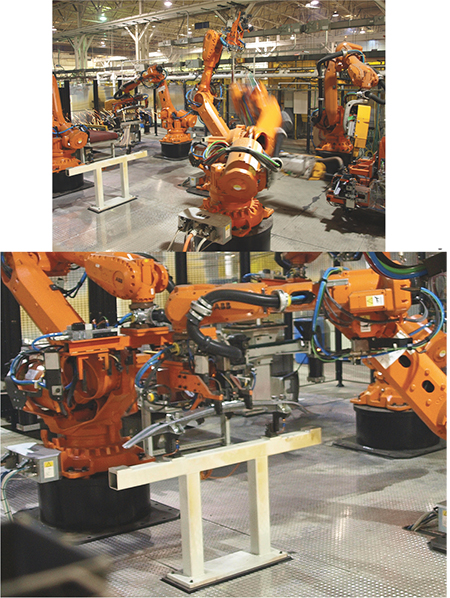 robots make resistance spot welds and material-handling robots
