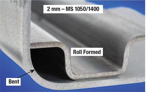 Fig. 9—For martensite, the smallest bend radius is achieved by rollforming—not by a traditional stamping press.