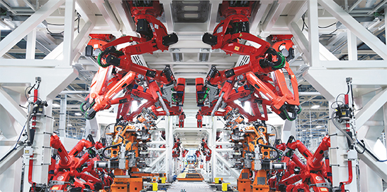 robotic resistance-welding line stars at Chrysler's Sterling Heights, MI, facility.