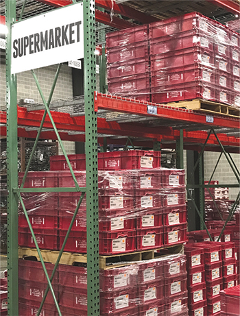 NSI's organized warehouse includes coded bins of finished production parts