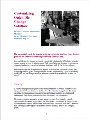 Customizing Quick Die Change Solutions