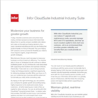 Infor CloudSuite Industrial Industry Suite