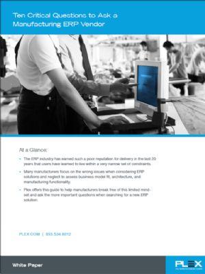 Ten Critical Questions to Ask an ERP Vendor