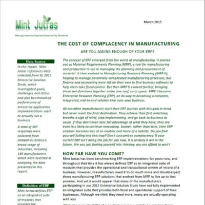 The Cost of Complacency in Manufacturing