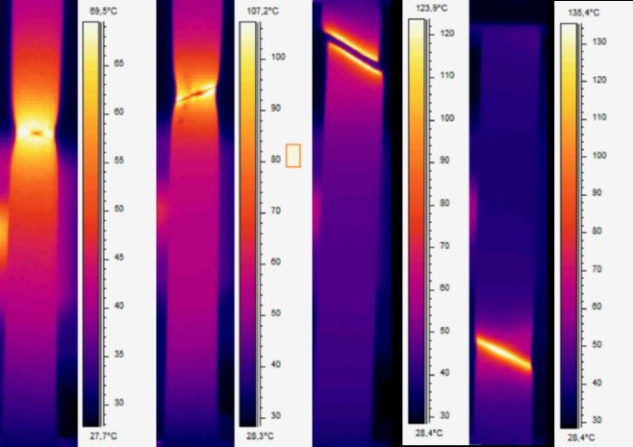 thermal camera images of tensile specimens